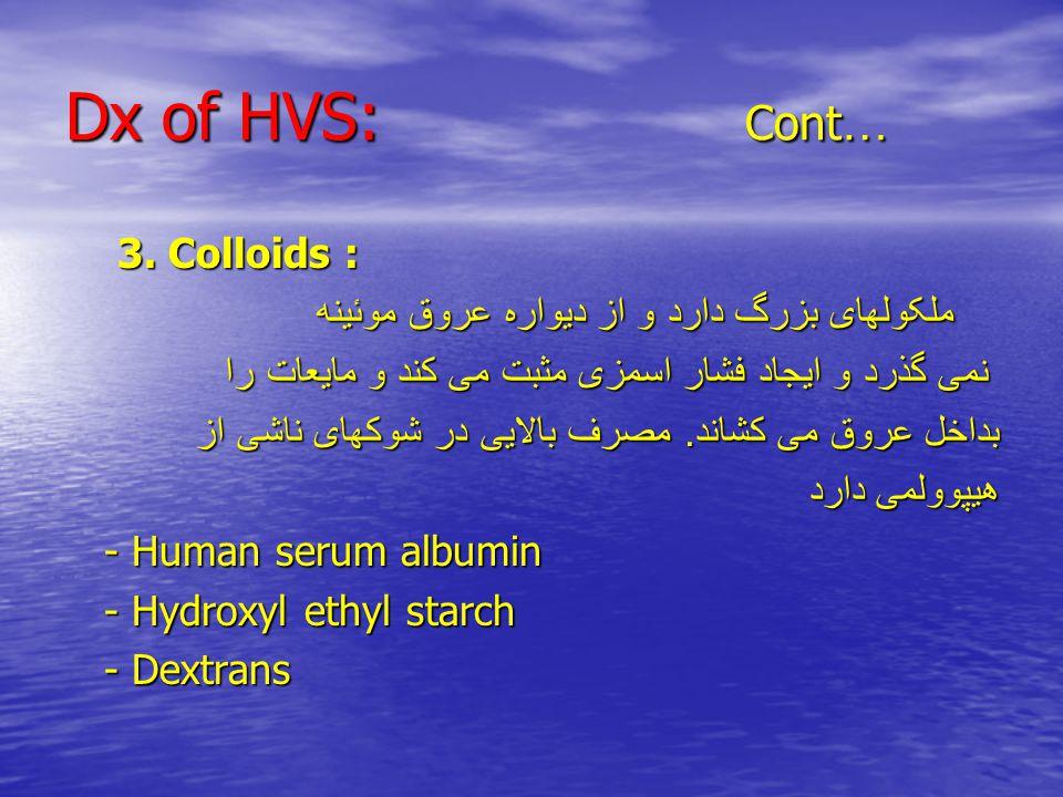 Dx of HVS: Cont … 3. Colloids : 3.