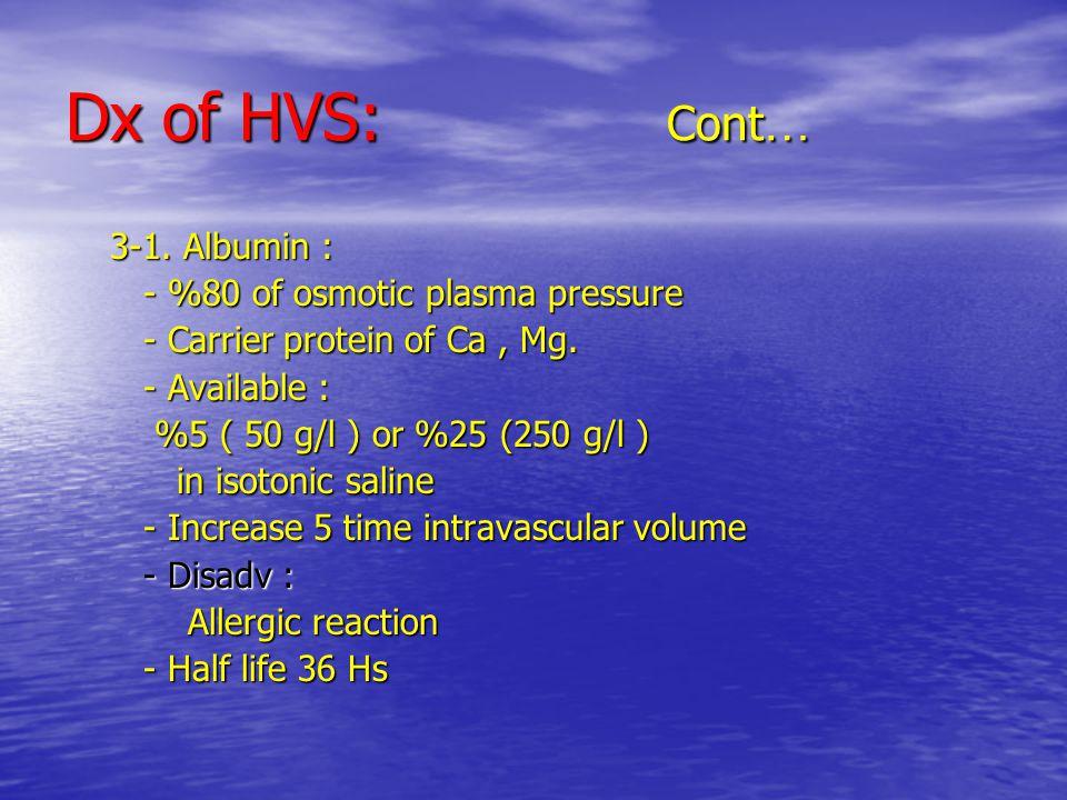 Dx of HVS: Cont … 3-1. Albumin : 3-1.