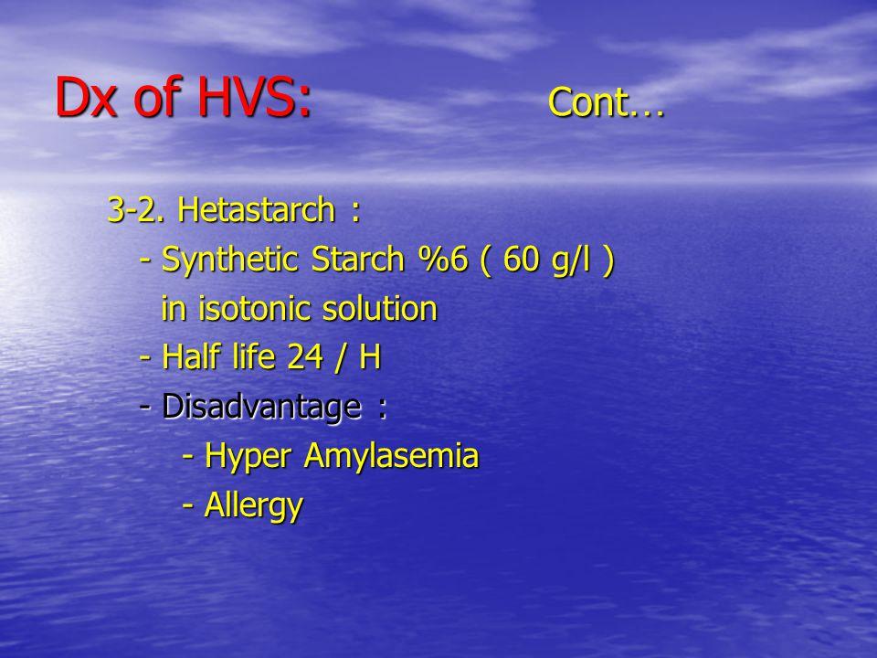 Dx of HVS: Cont … 3-2. Hetastarch : 3-2.