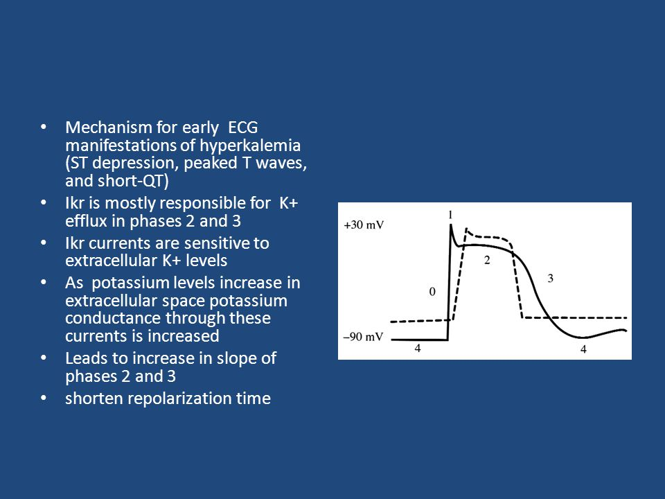 Mechanism for early ECG manifestations of hyperkalemia (ST depression, peaked T waves, and short-QT) Ikr is mostly responsible for K+ efflux in phases 2 and 3 Ikr currents are sensitive to extracellular K+ levels As potassium levels increase in extracellular space potassium conductance through these currents is increased Leads to increase in slope of phases 2 and 3 shorten repolarization time