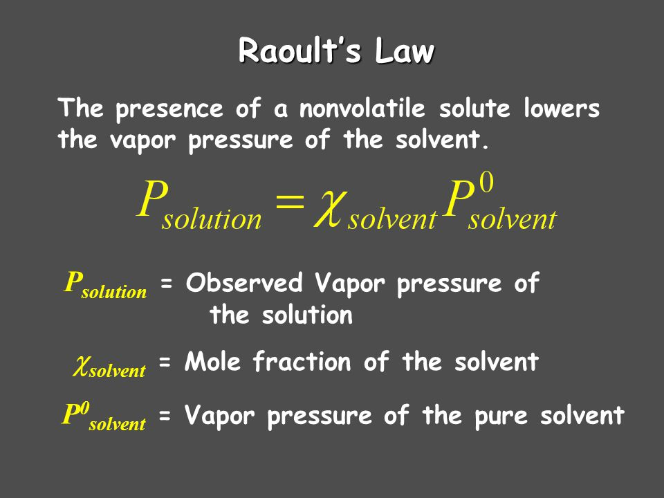 Raoult's Law The presence of a nonvolatile solute lowers the vapor pressure of the solvent.