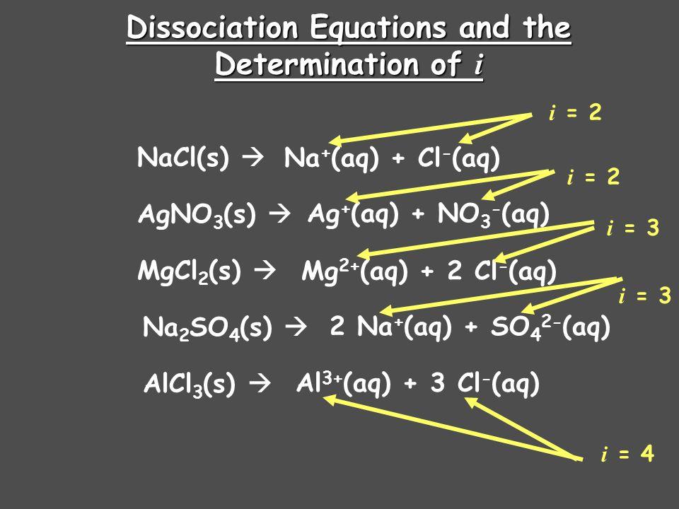 Dissociation Equations and the Determination of i NaCl(s)  AgNO 3 (s)  MgCl 2 (s)  Na 2 SO 4 (s)  AlCl 3 (s)  Na + (aq) + Cl - (aq) Ag + (aq) + NO 3 - (aq) Mg 2+ (aq) + 2 Cl - (aq) 2 Na + (aq) + SO 4 2- (aq) Al 3+ (aq) + 3 Cl - (aq) i = 2 i = 3 i = 4
