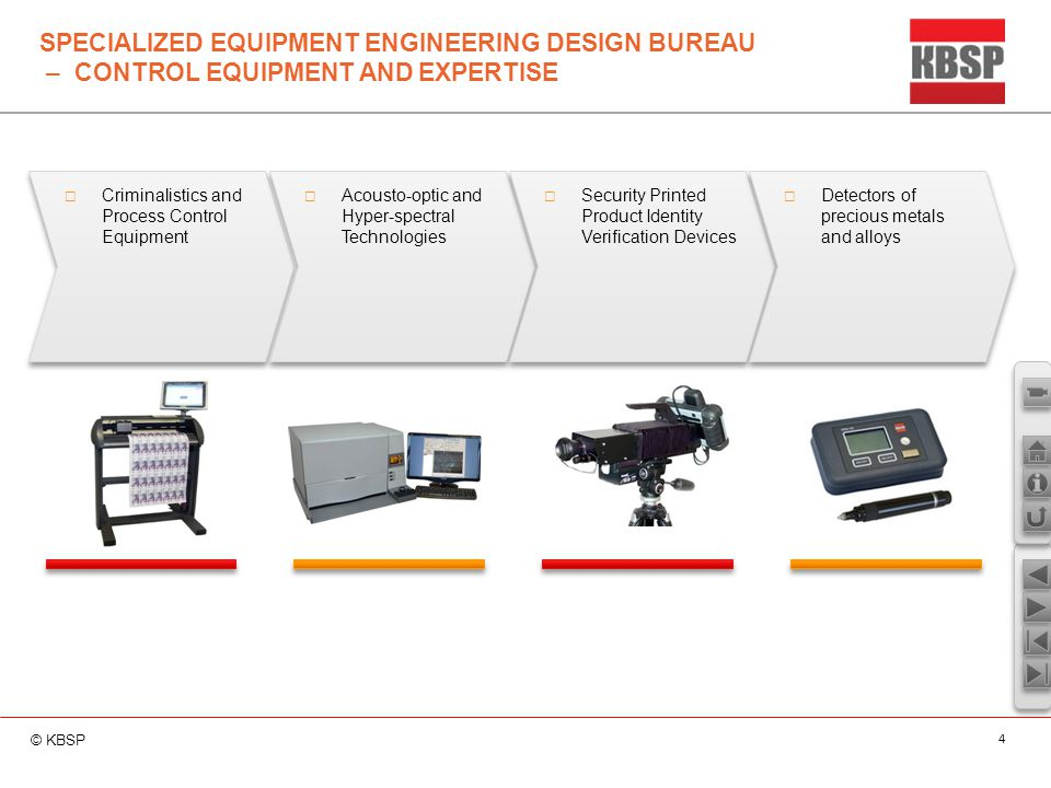 © KBSP 4 SPECIALIZED EQUIPMENT ENGINEERING DESIGN BUREAU – CONTROL EQUIPMENT AND EXPERTISE  Criminalistics and Process Control Equipment  Acousto-op