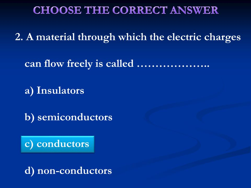 2. A material through which the electric charges can flow freely is called ………………..