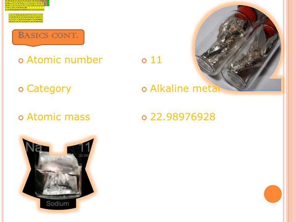 B ASICS CONT. Atomic number Category Atomic mass 11 Alkaline metal 22.98976928