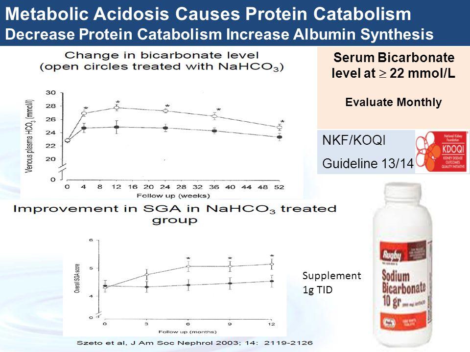Metabolic Acidosis Causes Protein Catabolism Decrease Protein Catabolism Increase Albumin Synthesis Serum Bicarbonate level at  22 mmol/L Evaluate Mo