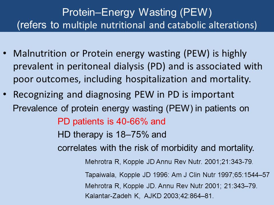 Dietary Protein Intake for Patients on PD NKF-K/DOQI Guideline 16 For patients on CAPD unless a patient has demonstrated an adequate nutritional status on 1.2 g/kgbw/d diet, prescribe 1.3g/kgbw/d necessary to ensure neutral or positive nitrogen balance Guideline 16 Patients with high peritoneal membrane transport characteristics have low serum albumin due to excessive protein loss.