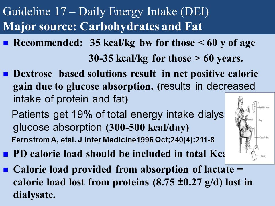 Guideline 17 – Daily Energy Intake (DEI) Major source: Carbohydrates and Fat Recommended: 35 kcal/kg bw for those < 60 y of age 30-35 kcal/kg for thos