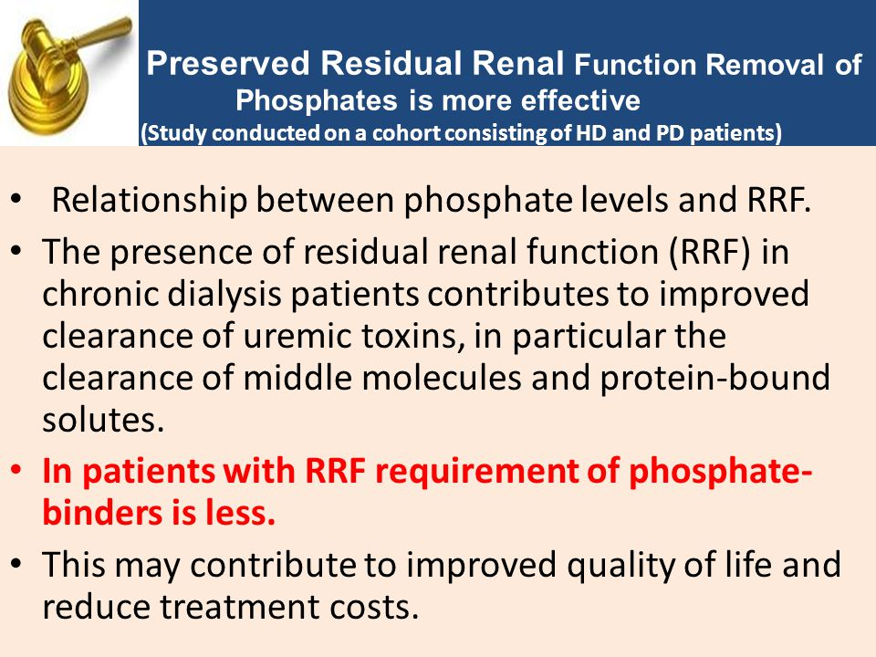 Relationship between phosphate levels and RRF. The presence of residual renal function (RRF) in chronic dialysis patients contributes to improved clea