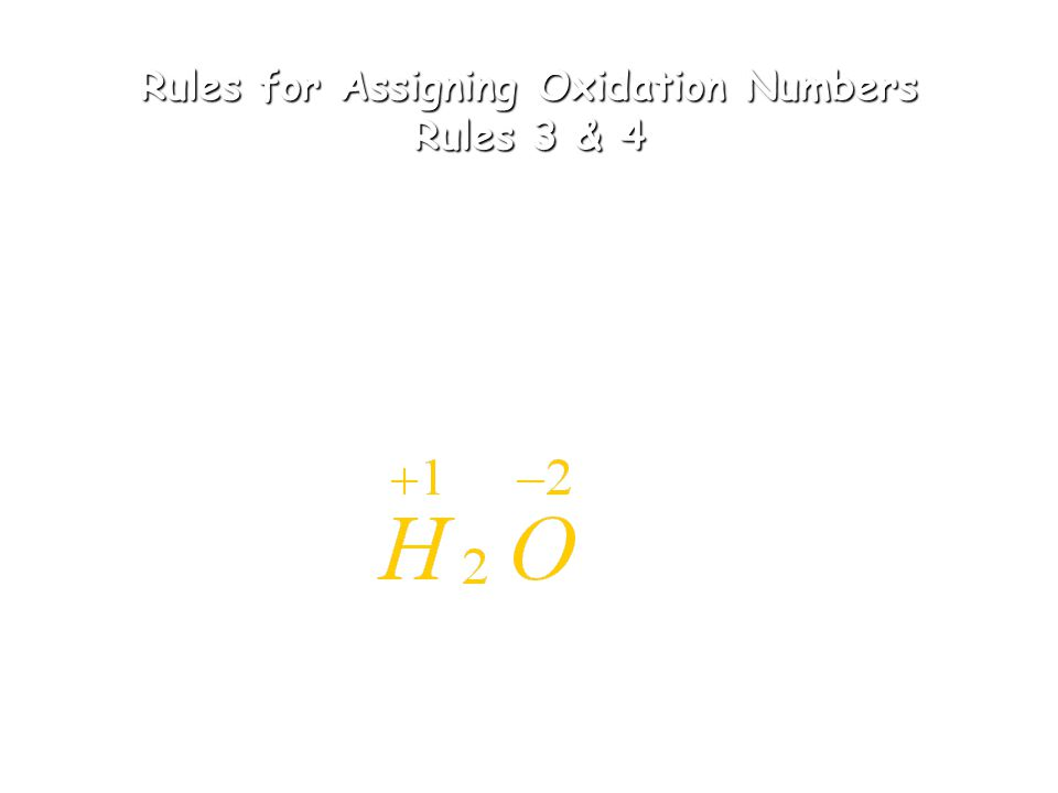 Rules for Assigning Oxidation Numbers Rules 1 & 2 1.The oxidation number of any uncombined element is zero 2. The oxidation number of a monatomic ion