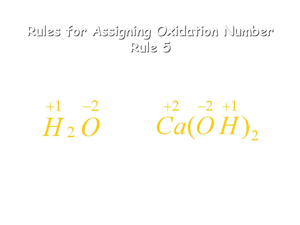 Rules for Assigning Oxidation Numbers Rules 3 & 4 3. The oxidation number of oxygen in compounds is -2 4. The oxidation number of hydrogen in compound
