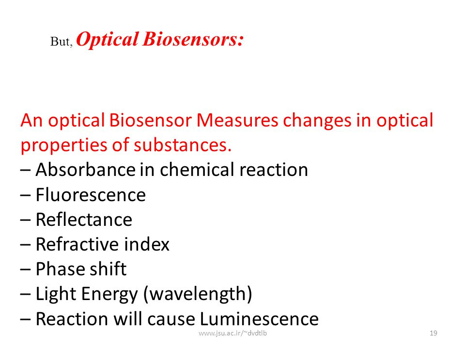 An optical Biosensor Measures changes in optical properties of substances.
