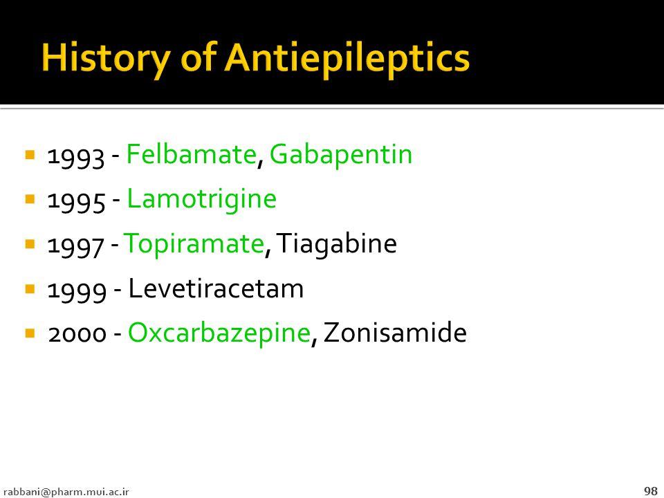  1993 - Felbamate, Gabapentin  1995 - Lamotrigine  1997 - Topiramate, Tiagabine  1999 - Levetiracetam  2000 - Oxcarbazepine, Zonisamide rabbani@pharm.mui.ac.ir 98