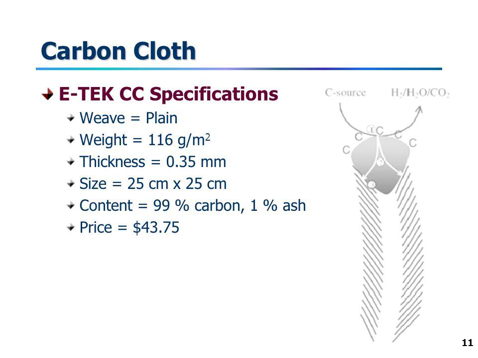 11 Carbon Cloth E-TEK CC Specifications Weave = Plain Weight = 116 g/m 2 Thickness = 0.35 mm Size = 25 cm x 25 cm Content = 99 % carbon, 1 % ash Price