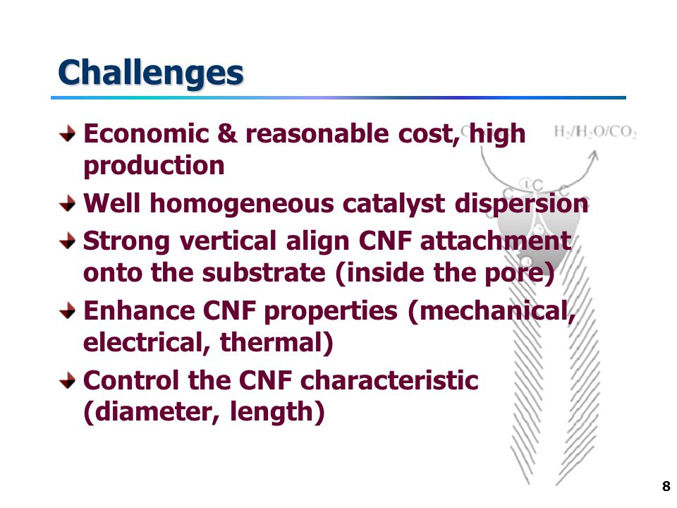 8 Challenges Economic & reasonable cost, high production Well homogeneous catalyst dispersion Strong vertical align CNF attachment onto the substrate (inside the pore) Enhance CNF properties (mechanical, electrical, thermal) Control the CNF characteristic (diameter, length)