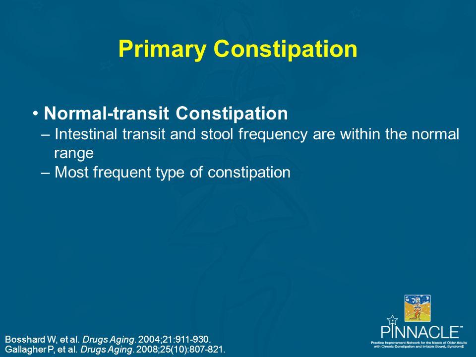 Bosshard W, et al. Drugs Aging. 2004;21:911-930. Gallagher P, et al. Drugs Aging. 2008;25(10):807-821. Primary Constipation Normal-transit Constipatio
