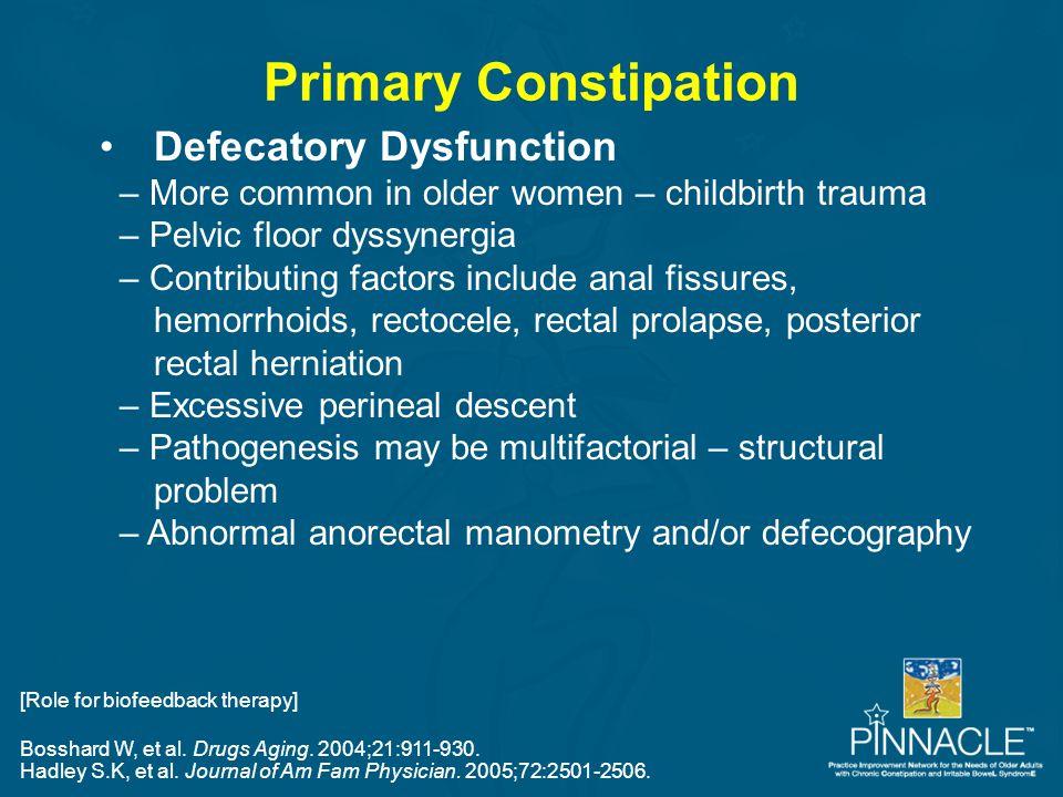 Bosshard W, et al. Drugs Aging. 2004;21:911-930. Hadley S.K, et al. Journal of Am Fam Physician. 2005;72:2501-2506. Primary Constipation Defecatory Dy