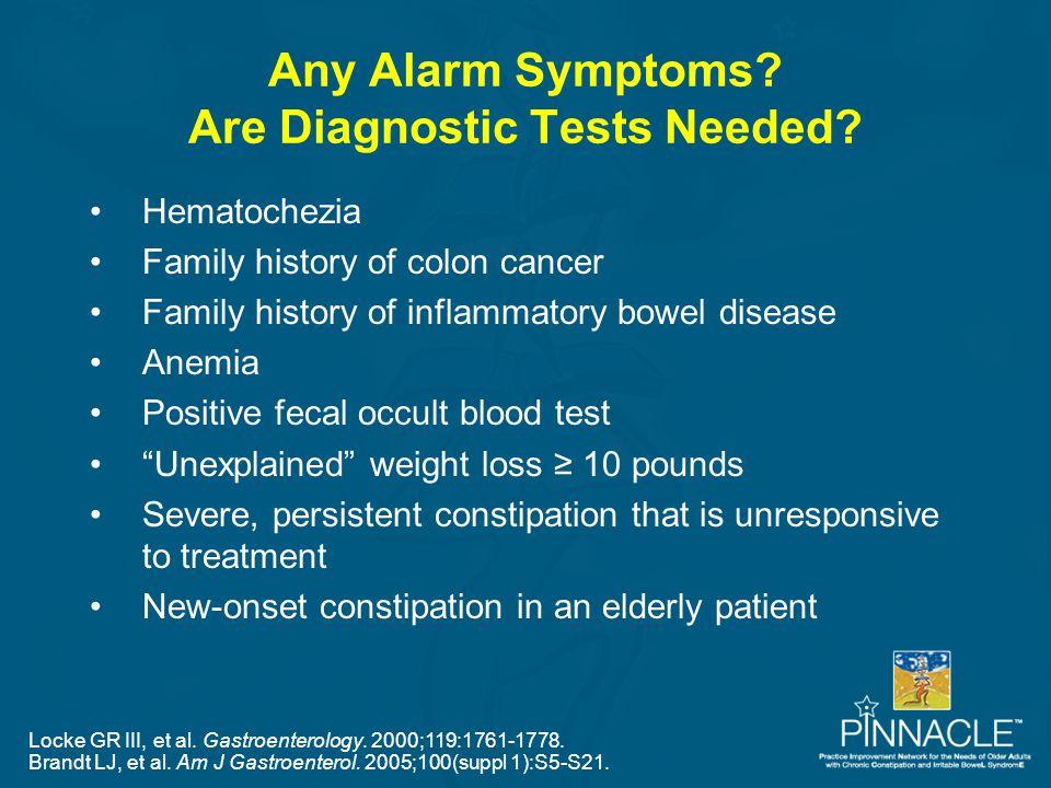 Any Alarm Symptoms? Are Diagnostic Tests Needed? Locke GR III, et al. Gastroenterology. 2000;119:1761-1778. Brandt LJ, et al. Am J Gastroenterol. 2005