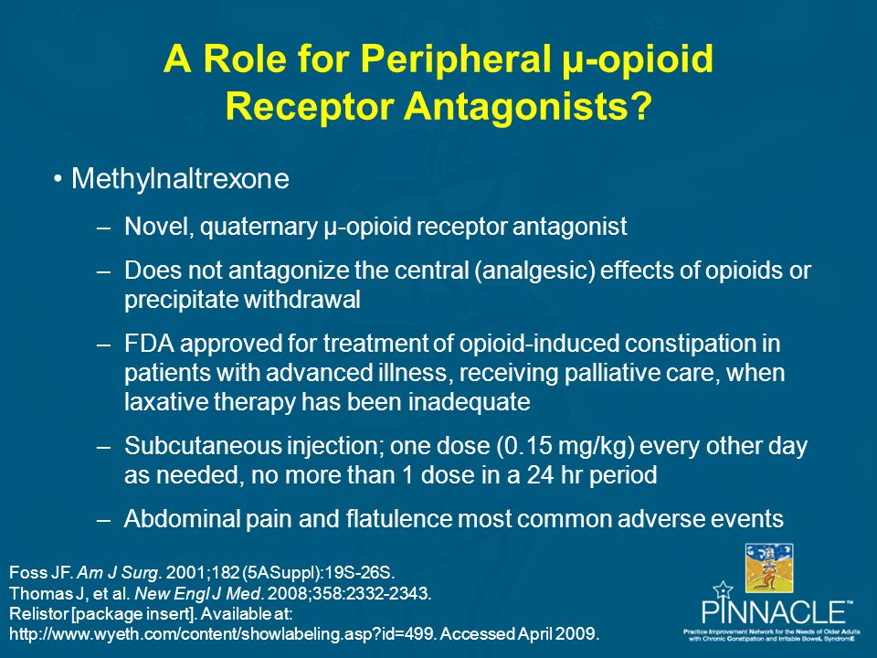 A Role for Peripheral µ-opioid Receptor Antagonists? Methylnaltrexone –Novel, quaternary µ-opioid receptor antagonist –Does not antagonize the central