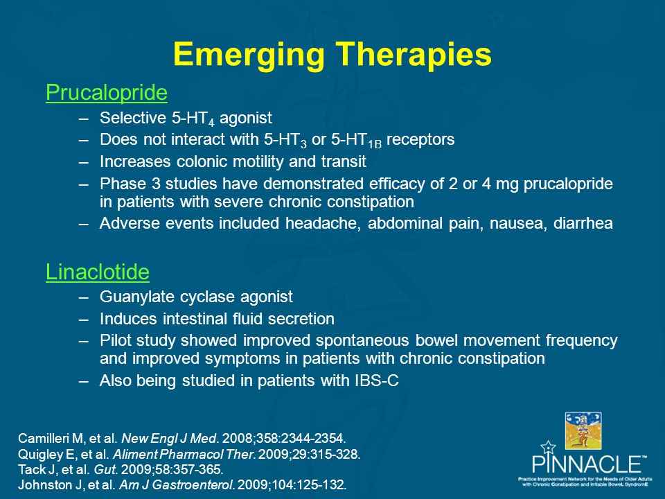 Emerging Therapies Prucalopride –Selective 5-HT 4 agonist –Does not interact with 5-HT 3 or 5-HT 1B receptors –Increases colonic motility and transit