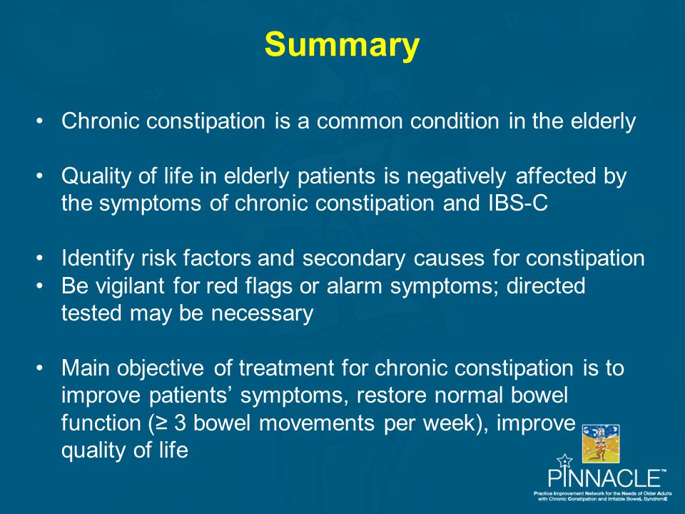 Summary Chronic constipation is a common condition in the elderly Quality of life in elderly patients is negatively affected by the symptoms of chroni