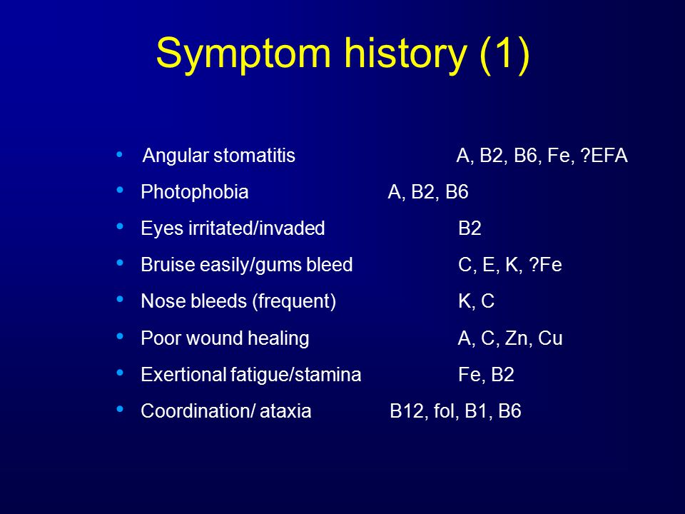 Symptom history (1) Angular stomatitis A, B2, B6, Fe, EFA Photophobia A, B2, B6 Eyes irritated/invadedB2 Bruise easily/gums bleedC, E, K, Fe Nose bleeds (frequent)K, C Poor wound healingA, C, Zn, Cu Exertional fatigue/staminaFe, B2 Coordination/ ataxiaB12, fol, B1, B6
