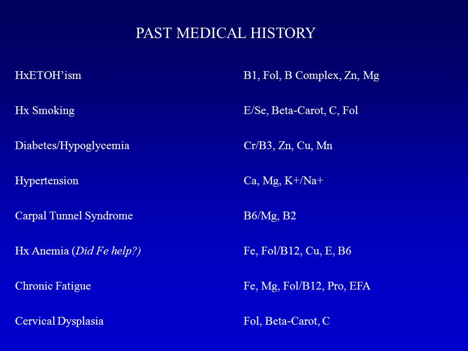 PAST MEDICAL HISTORY HxETOH'ism Hx Smoking Diabetes/Hypoglycemia Hypertension Carpal Tunnel Syndrome Hx Anemia (Did Fe help ) Chronic Fatigue Cervical Dysplasia B1, Fol, B Complex, Zn, Mg E/Se, Beta-Carot, C, Fol Cr/B3, Zn, Cu, Mn Ca, Mg, K+/Na+ B6/Mg, B2 Fe, Fol/B12, Cu, E, B6 Fe, Mg, Fol/B12, Pro, EFA Fol, Beta-Carot, C