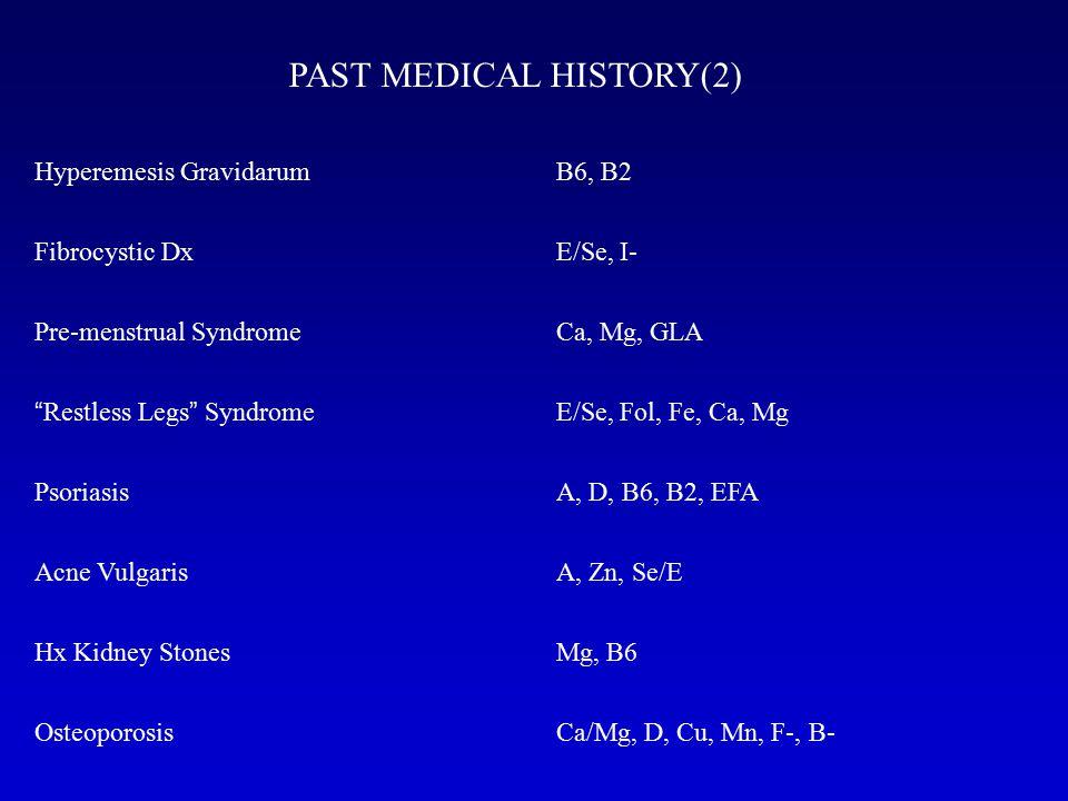 PAST MEDICAL HISTORY(2) Hyperemesis Gravidarum Fibrocystic Dx Pre-menstrual Syndrome Restless Legs Syndrome Psoriasis Acne Vulgaris Hx Kidney Stones Osteoporosis B6, B2 E/Se, I- Ca, Mg, GLA E/Se, Fol, Fe, Ca, Mg A, D, B6, B2, EFA A, Zn, Se/E Mg, B6 Ca/Mg, D, Cu, Mn, F-, B-