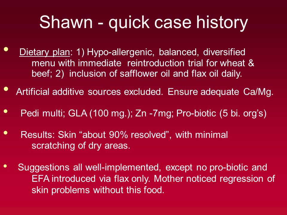 Shawn - quick case history Dietary plan: 1) Hypo-allergenic, balanced, diversified menu with immediate reintroduction trial for wheat & beef; 2) inclu
