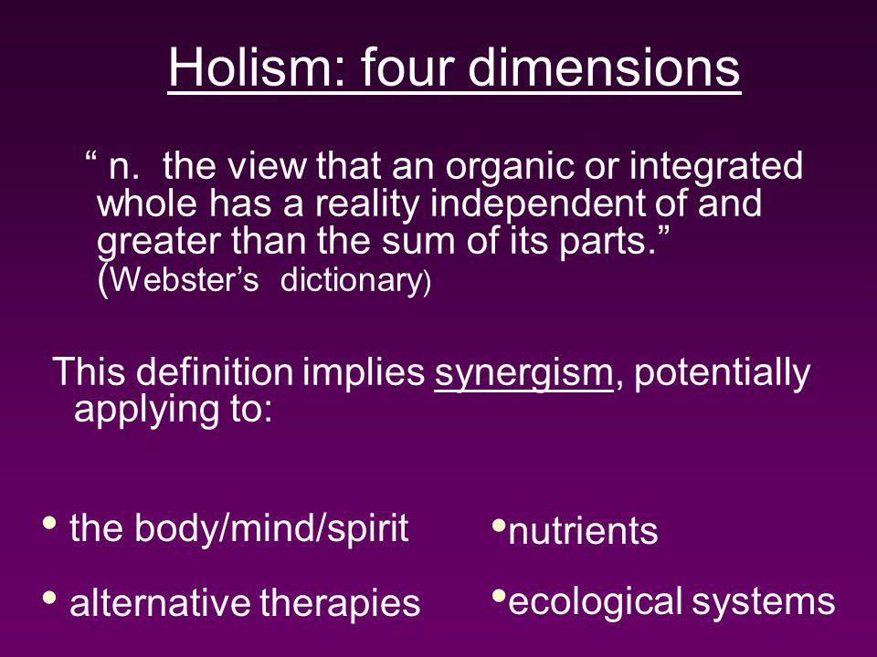 Holism: four dimensions n.