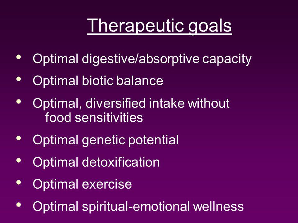 Therapeutic goals Optimal digestive/absorptive capacity Optimal biotic balance Optimal, diversified intake without food sensitivities Optimal genetic potential Optimal detoxification Optimal exercise Optimal spiritual-emotional wellness