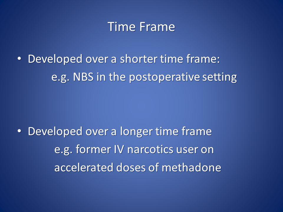 Time Frame Developed over a shorter time frame: Developed over a shorter time frame: e.g.