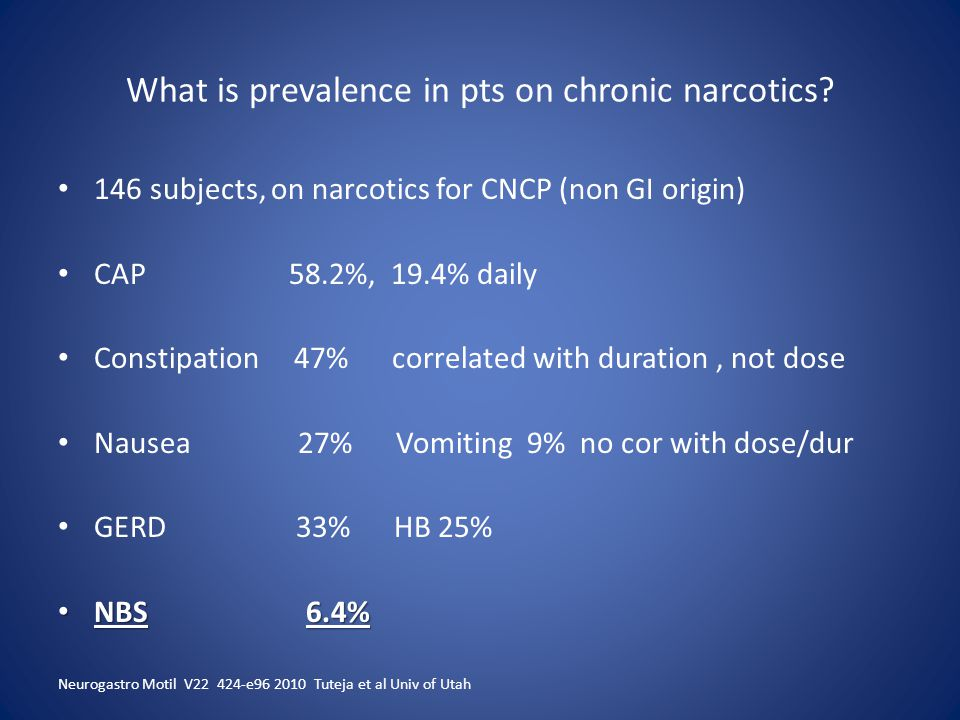 What is prevalence in pts on chronic narcotics.