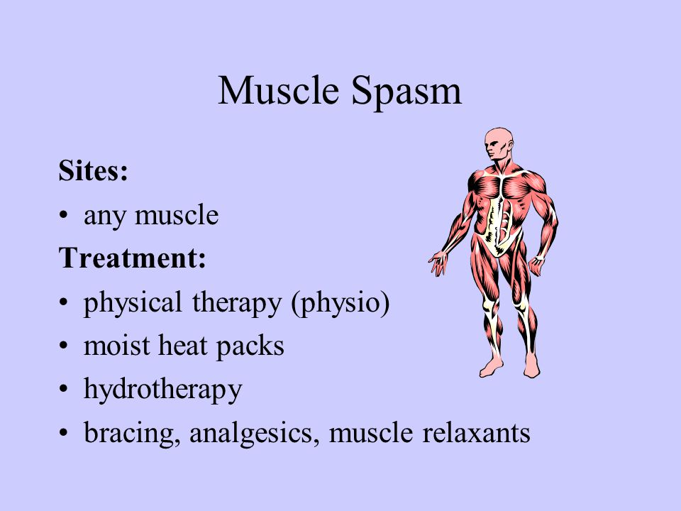 Muscle Spasm Sites: any muscle Treatment: physical therapy (physio) moist heat packs hydrotherapy bracing, analgesics, muscle relaxants