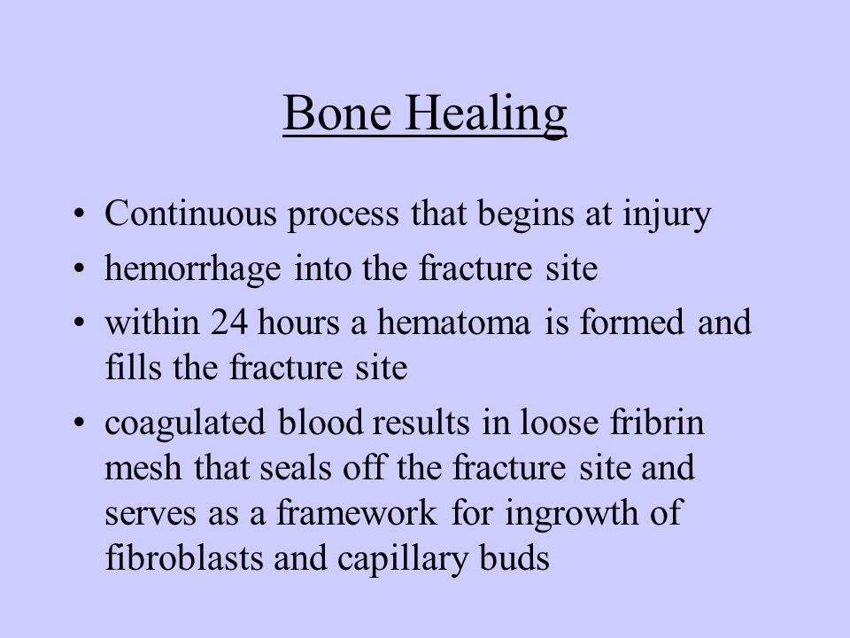 Bone Healing Continuous process that begins at injury hemorrhage into the fracture site within 24 hours a hematoma is formed and fills the fracture si