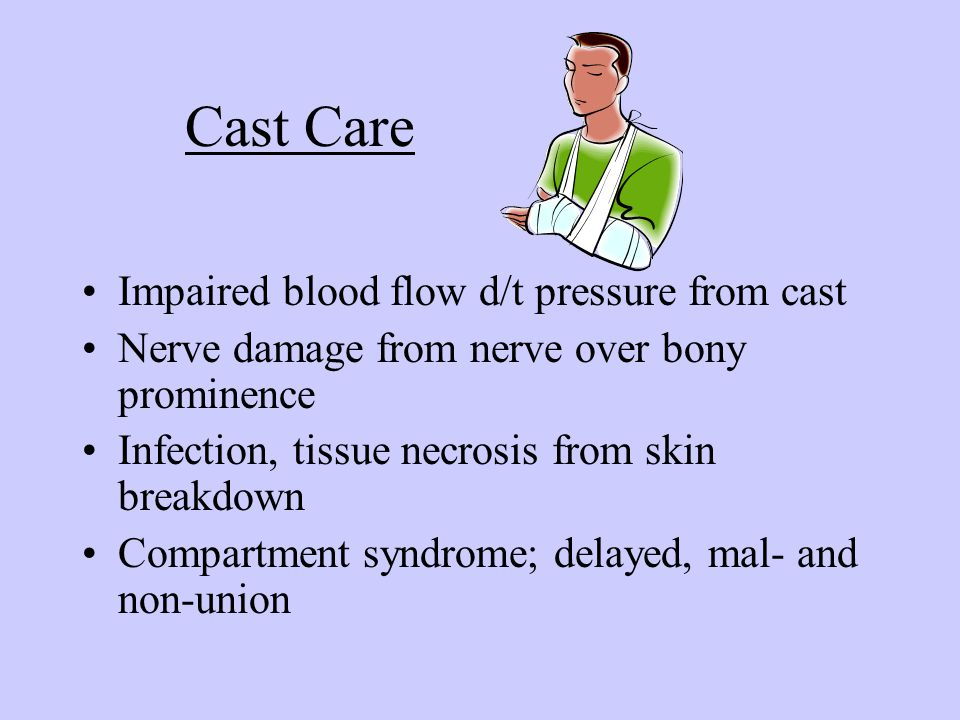 Cast Care Impaired blood flow d/t pressure from cast Nerve damage from nerve over bony prominence Infection, tissue necrosis from skin breakdown Compa