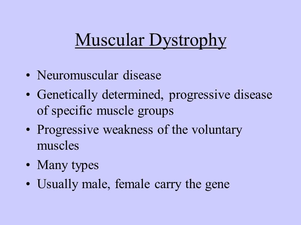 Muscular Dystrophy Neuromuscular disease Genetically determined, progressive disease of specific muscle groups Progressive weakness of the voluntary m