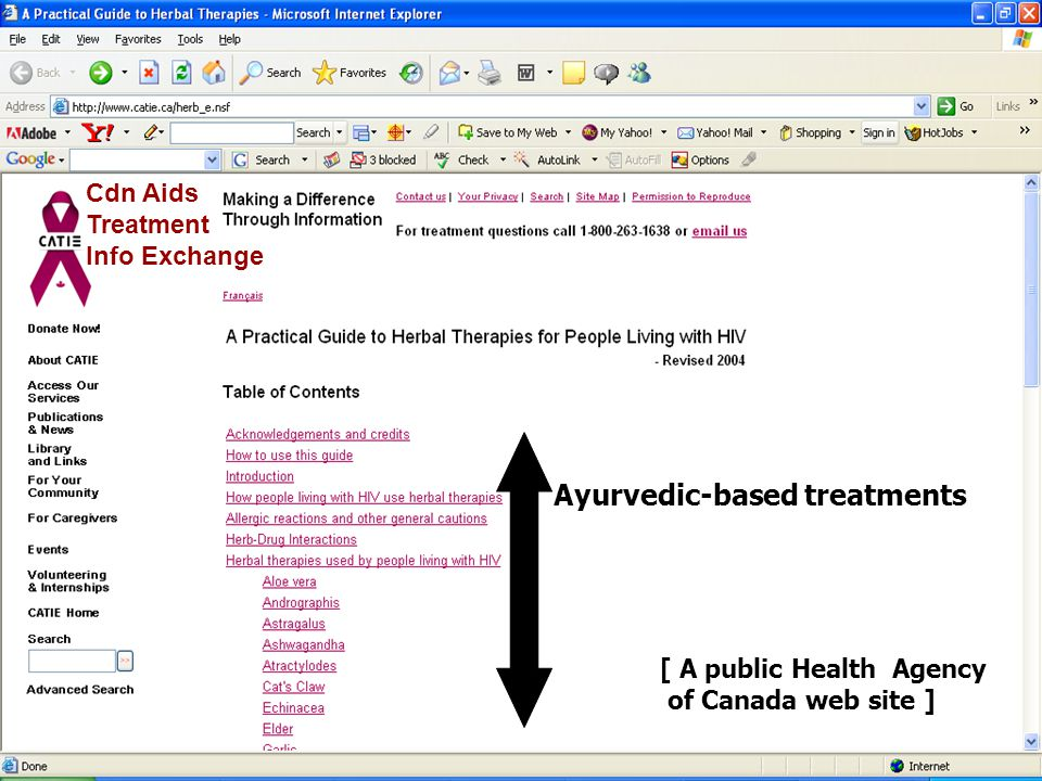 Cdn Aids Treatment Info Exchange [ A public Health Agency of Canada web site ] Ayurvedic-based treatments