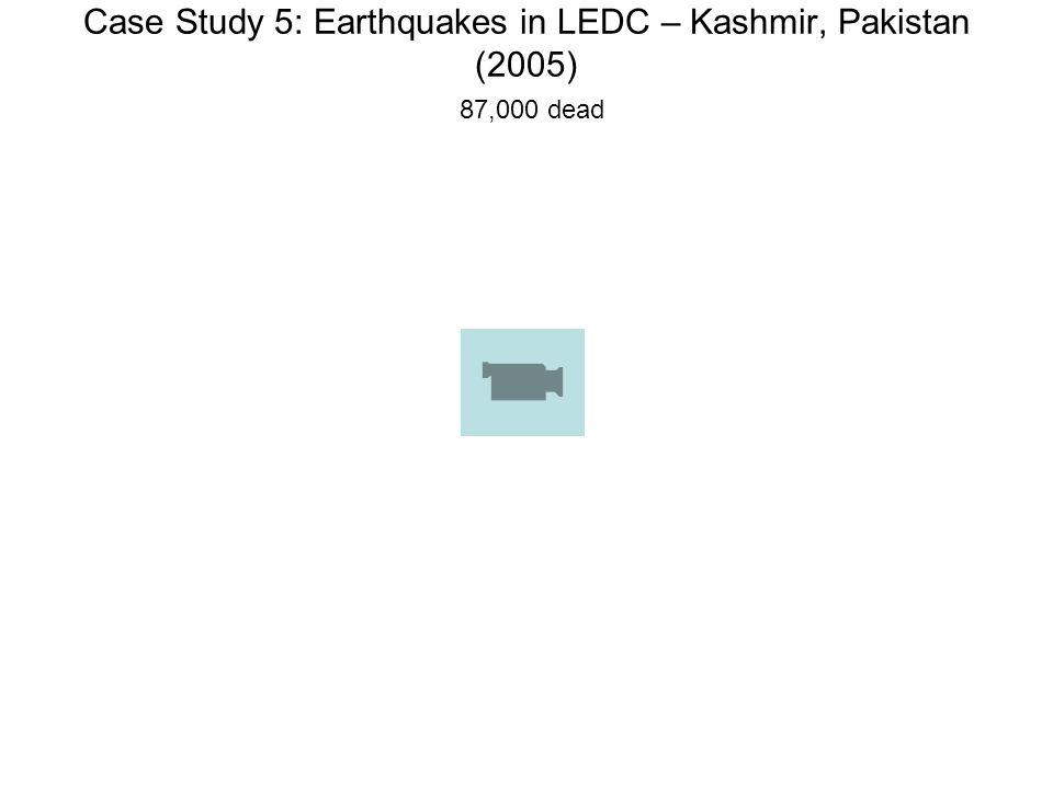 Case Study 5: Earthquakes in LEDC – Kashmir, Pakistan (2005) 87,000 dead