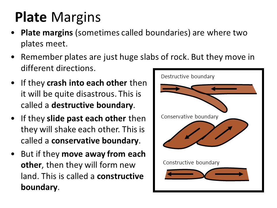 Plate Margins Plate margins (sometimes called boundaries) are where two plates meet.
