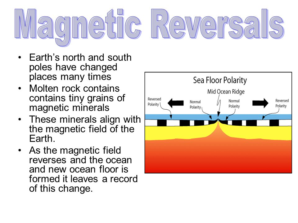 Earth's north and south poles have changed places many times Molten rock contains contains tiny grains of magnetic minerals These minerals align with the magnetic field of the Earth.