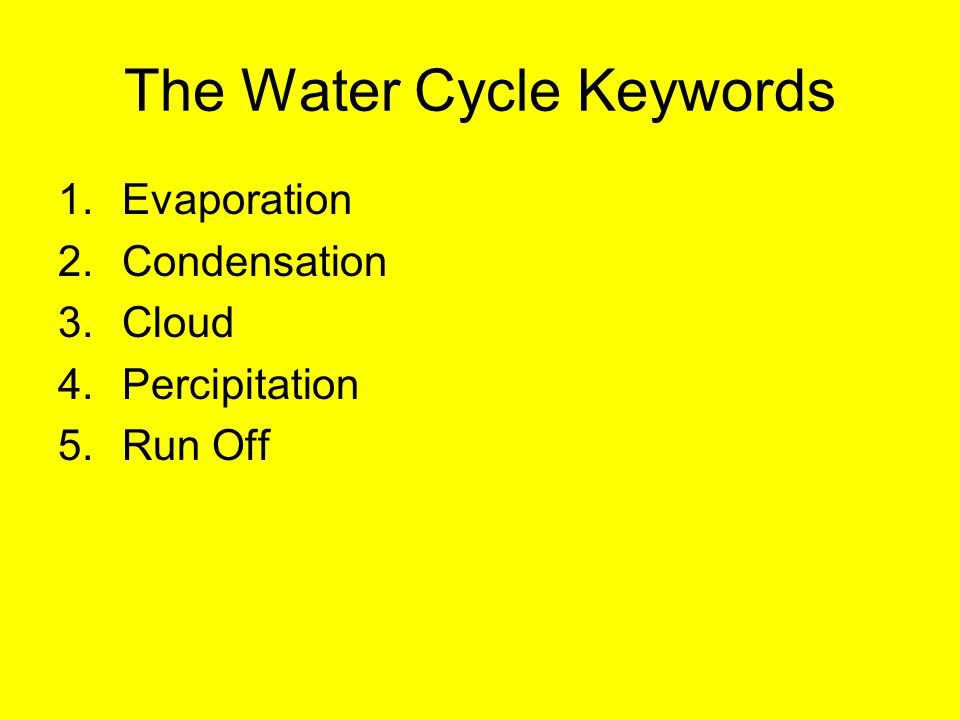 The water cycle Water: a renewable resource