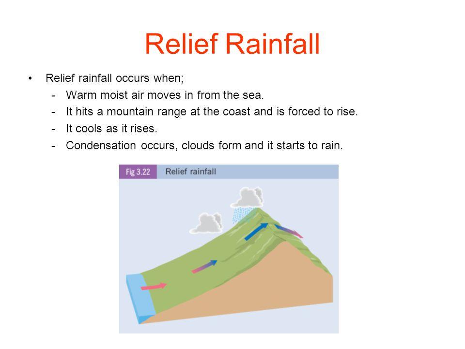 Rainfall Precipitation means hail, rain, sleet or snow. Rain is the most common type of precipitation. Rain occurs when warm air is forced to rise. As