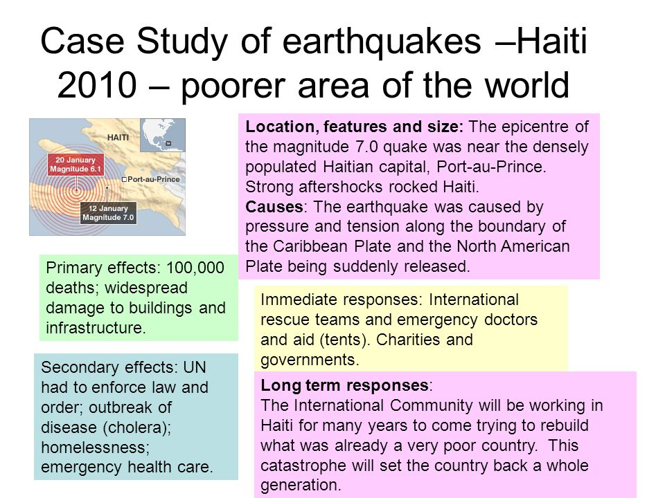 Case Study of earthquakes –Haiti 2010 – poorer area of the world Location, features and size: The epicentre of the magnitude 7.0 quake was near the densely populated Haitian capital, Port-au-Prince.