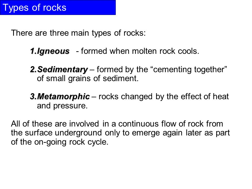 Types of rocks There are three main types of rocks: 1.Igneous 1.Igneous - formed when molten rock cools.