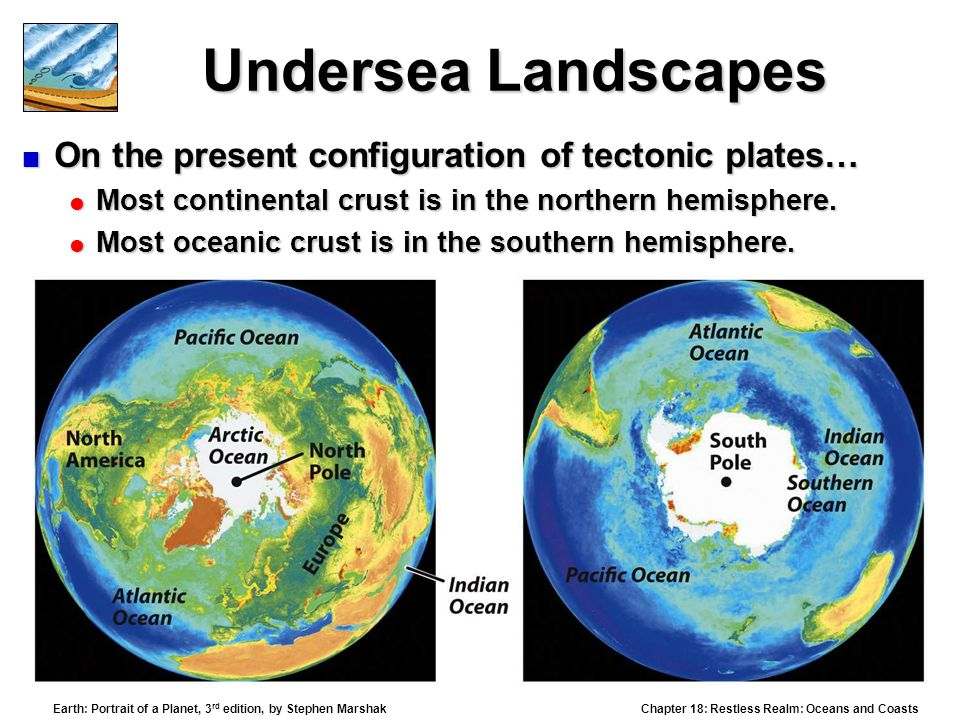 Chapter 18: Restless Realm: Oceans and Coasts Earth: Portrait of a Planet, 3 rd edition, by Stephen Marshak Undersea Landscapes  On the present configuration of tectonic plates…  Most continental crust is in the northern hemisphere.