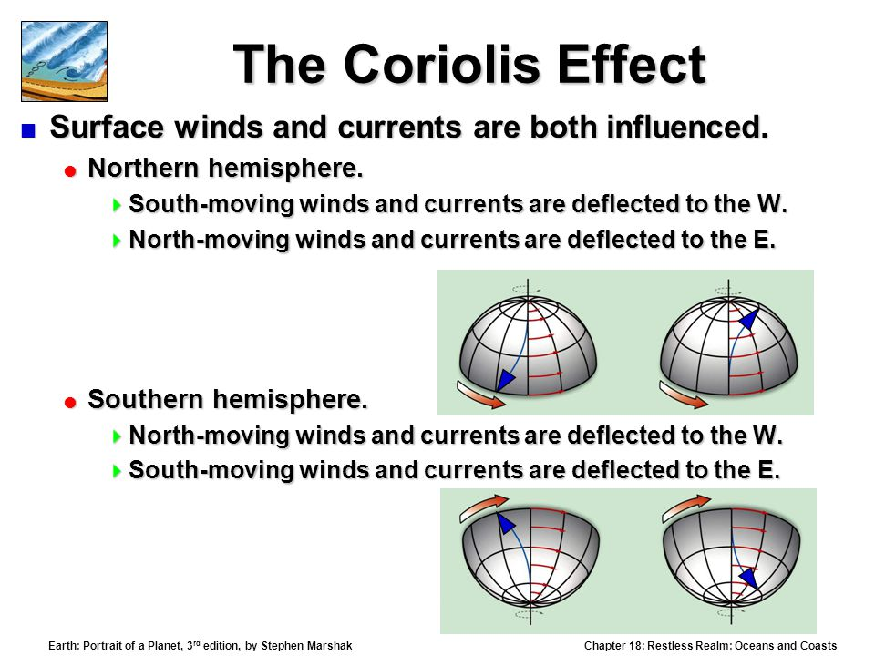 Chapter 18: Restless Realm: Oceans and Coasts Earth: Portrait of a Planet, 3 rd edition, by Stephen Marshak The Coriolis Effect  Surface winds and currents are both influenced.