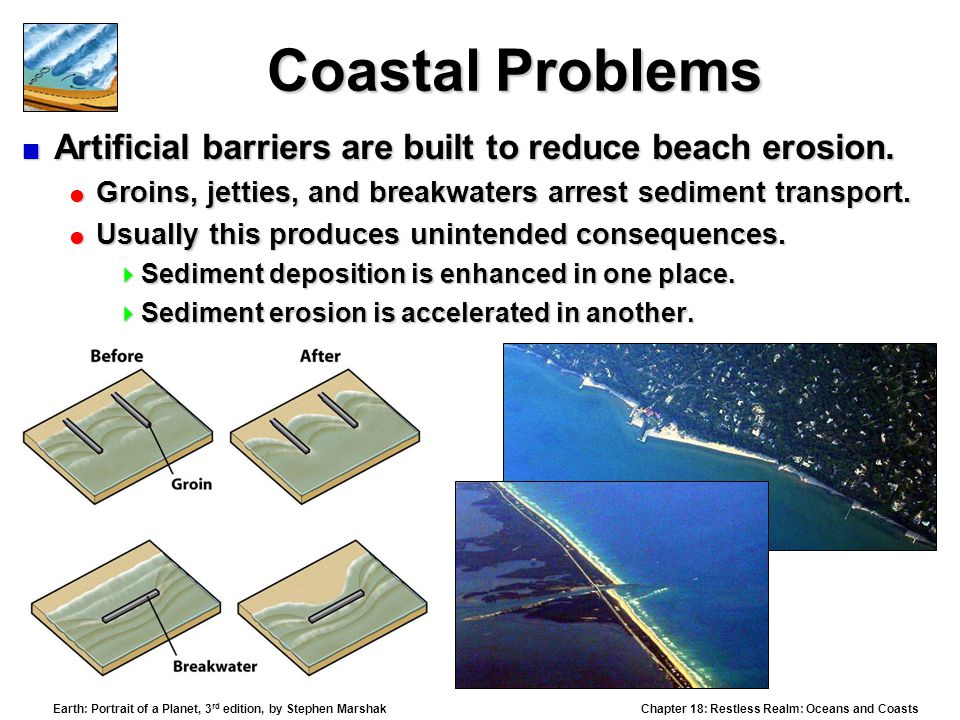 Chapter 18: Restless Realm: Oceans and Coasts Earth: Portrait of a Planet, 3 rd edition, by Stephen Marshak Coastal Problems  Artificial barriers are built to reduce beach erosion.