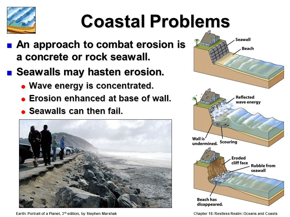 Chapter 18: Restless Realm: Oceans and Coasts Earth: Portrait of a Planet, 3 rd edition, by Stephen Marshak Coastal Problems  An approach to combat erosion is a concrete or rock seawall.