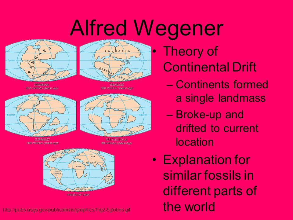 Alfred Wegener Theory of Continental Drift –Continents formed a single landmass –Broke-up and drifted to current location Explanation for similar fossils in different parts of the world http://pubs.usgs.gov/publications/graphics/Fig2-5globes.gif